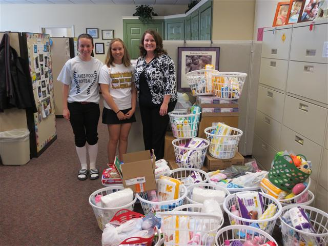 In April 2014 James Wood High School FCCLA Club, led by Caitlyn Hickey and Haley Burke donated  New Baby Care Packages to be distributed to first time parents and families in need. Thank you!
